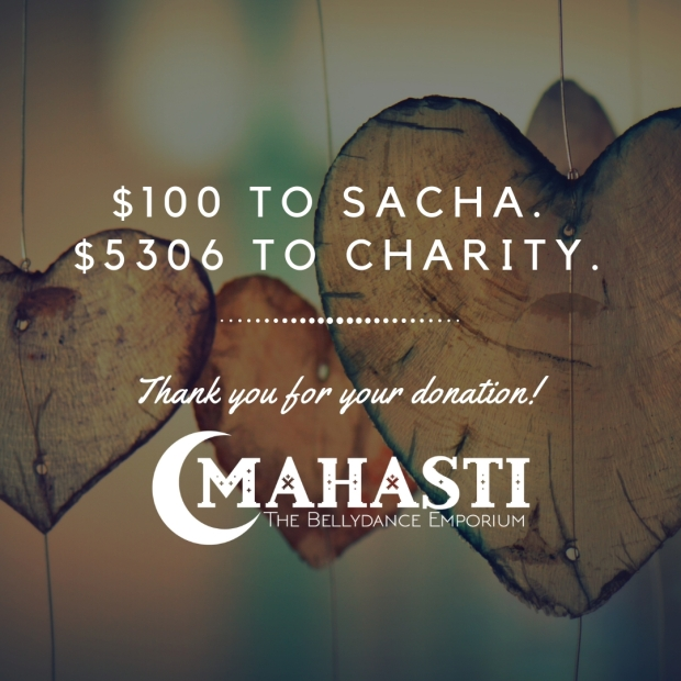 $100 to sacha. $5306 to charity.thank you!